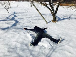 まだ残る雪にダーイブ( * ˃́ꇴ˂̀ )
